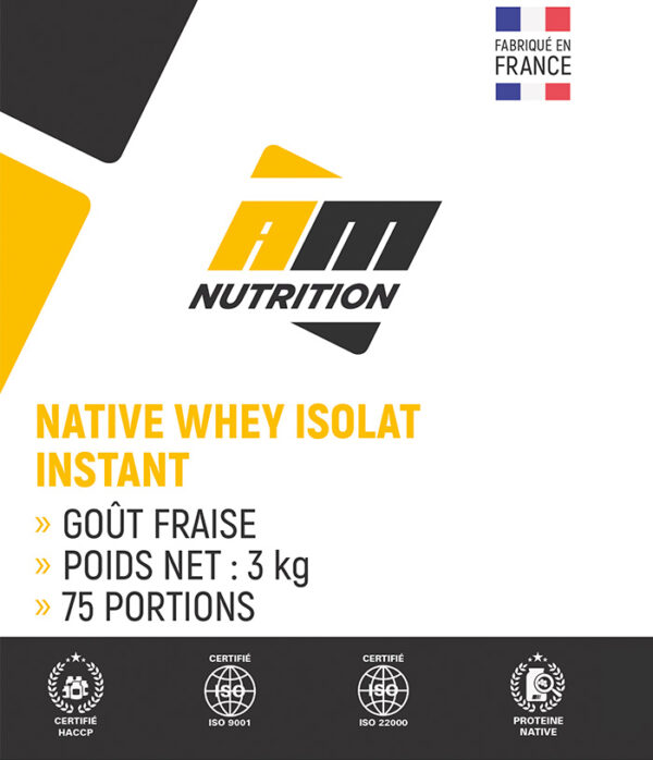 Native Whey Isolat Instant fraise AM Nutrition