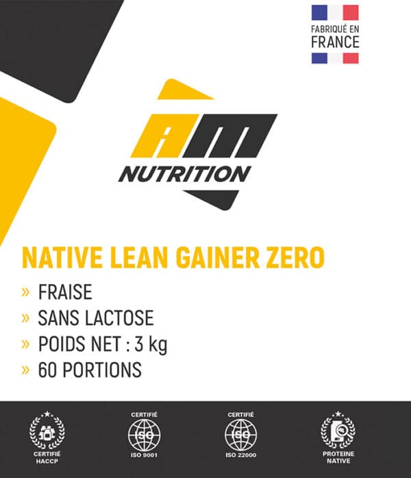 Native Lean Gainer Zero lactose fraise AM Nutrition