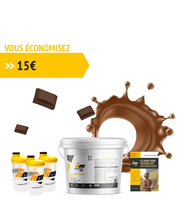 Pack Whey chocolat + livre all musculation + 3 shakers