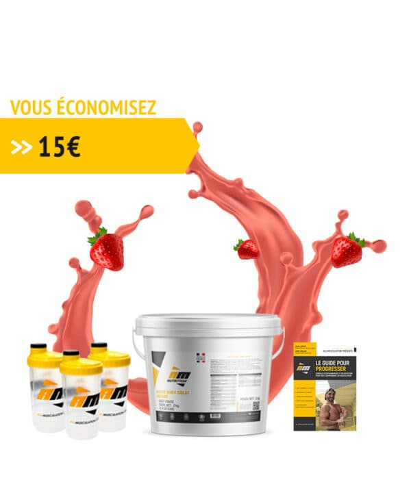 Pack Whey fraise + livre all musculation + 3 shakers