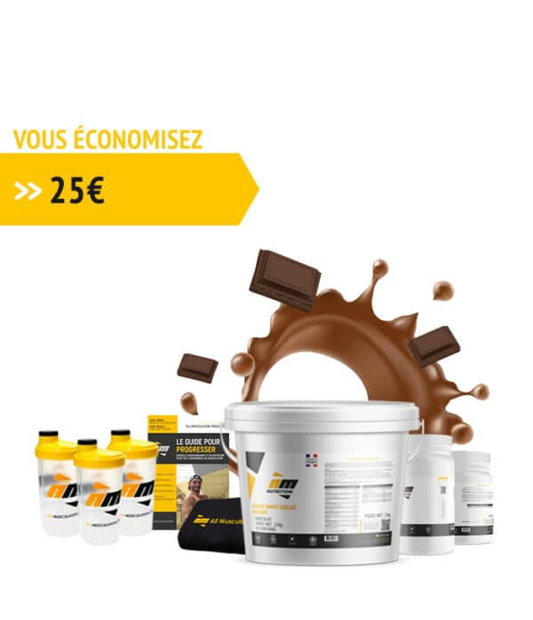 Pack Whey chocolat + livre all musculation + 3 shakers + serviette + créatine + bcaa