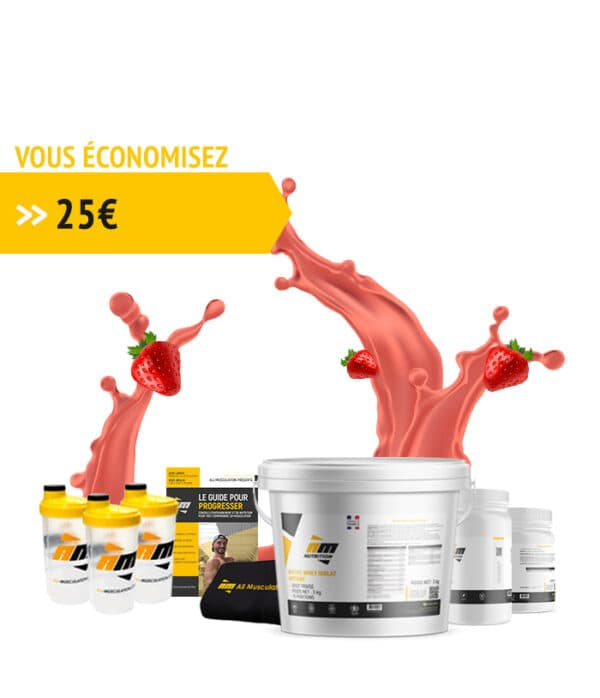 Pack Whey fraise + livre all musculation + 3 shakers + serviette + créatine + bcaa