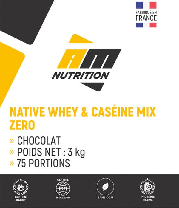 Native Whey & Caséine Mix Zéro choco AM Nutrition