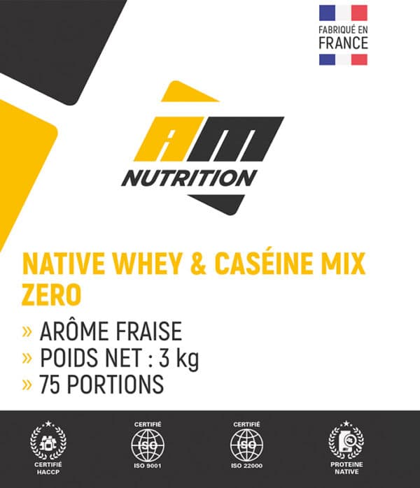 Native Whey & Caséine Mix Zéro fraise AM Nutrition